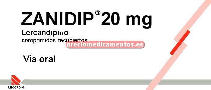 Caja ZANIDIP 20 mg 28 comprimidos recubiertos