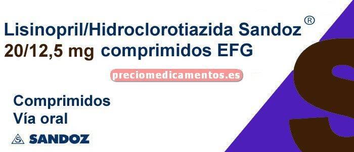 Caja LISINOPRIL/HCTZ SANDOZ EFG 20/12,5 mg 28 compr