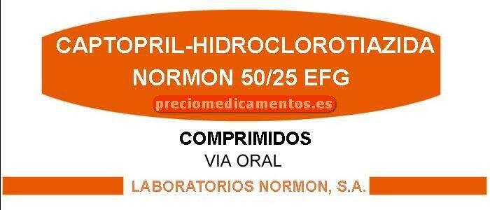 Caja CAPTOPRIL-HCTZ NORMON EFG 50/25 mg 30 comprimidos