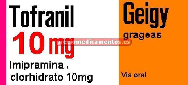 Caja TOFRANIL 10 mg 60 grageas