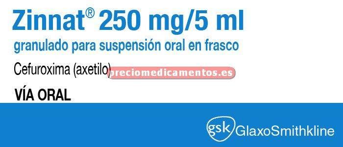 Caja ZINNAT 250 mg/5 ml suspensión oral 60 ml