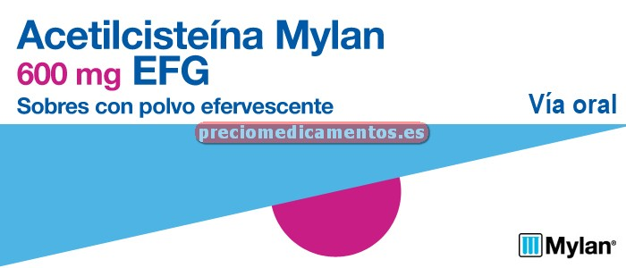 Caja ACETILCISTEINA MYLAN EFG 600 mg 20 sobres granul
