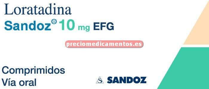 Caja LORATADINA SANDOZ EFG 10 mg 20 comprimidos