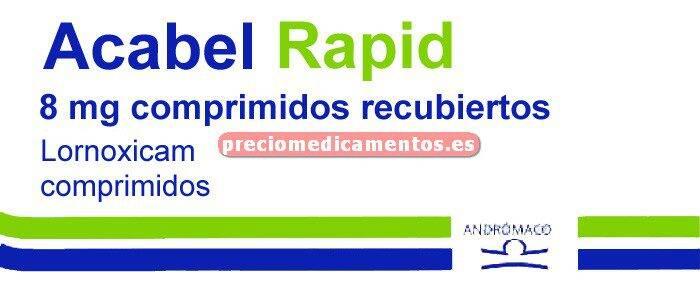 Caja ACABEL RAPID 8 mg 30 comprimidos recubiertos
