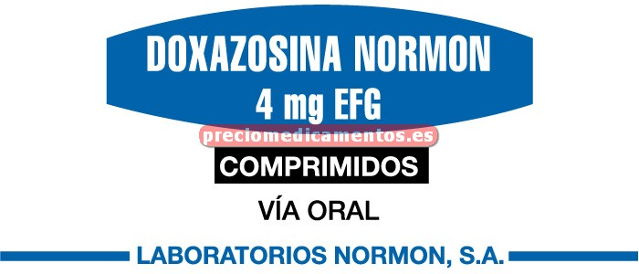 Caja DOXAZOSINA NORMON EFG 4 mg 28 comprimidos