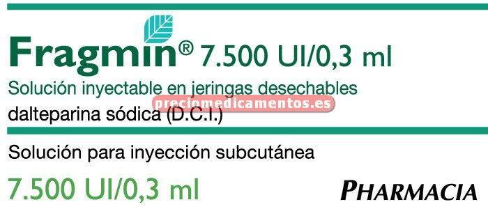 Caja FRAGMIN 7500 UI 10 jeringas precargadas 0.3 ml