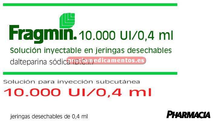 Caja FRAGMIN 10000 UI 5 jeringas precargadas 0.4 ml