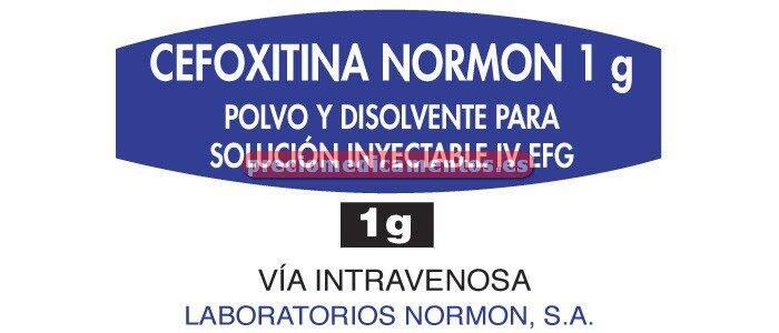 Caja CEFOXITINA NORMON EFG 1 g IV 1 vial + 1 amp 10 ml