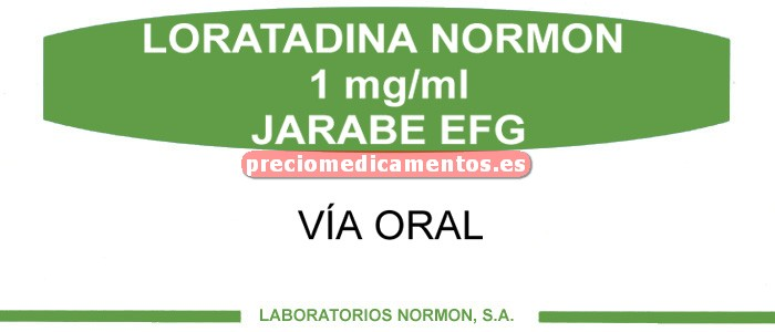 Caja LORATADINA NORMON EFG 5 mg/5 ml jarabe 120 ml