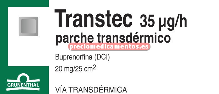 Caja TRANSTEC 35 mcg/h (en 96 h) 5 parches 20 mg