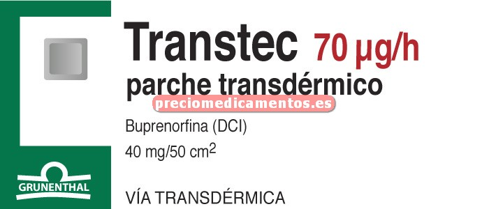 Caja TRANSTEC 70 mcg/h (en 96 h) 5 parches 40 mg