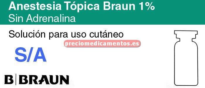 Caja ANESTESIA TOPICA BRAUN SIN ADRENALINA 1% vial 20ml