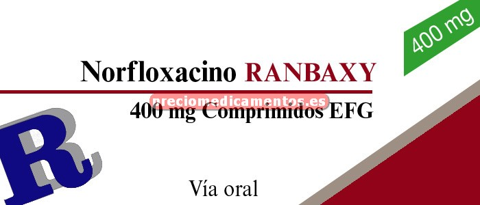 Caja NORFLOXACINO RANBAXY EFG 400 mg 14 comprimidos rec