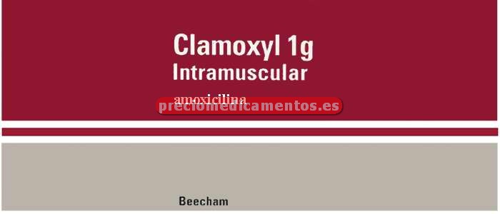 Caja CLAMOXYL 1 g IM 1 vial 1 ampolla 5 ml