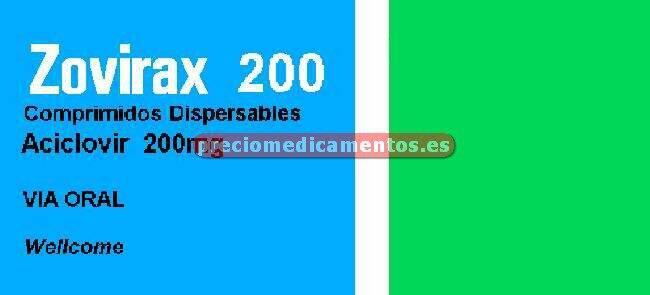 Caja ZOVIRAX 200 mg 25 comprimidos dispersables