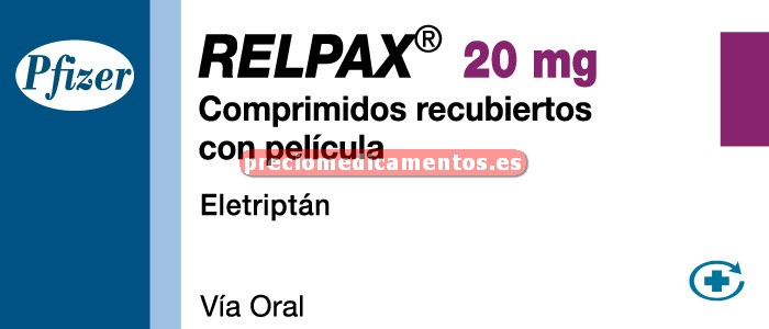 Caja RELPAX 20 mg 2 comprimidos cub pelicular