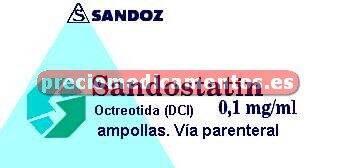 Caja SANDOSTATIN 100 mcg 5 ampollas 1 ml