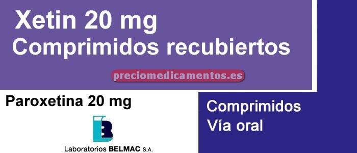 Caja XETIN 20 mg 28 comprimidos recubiertos